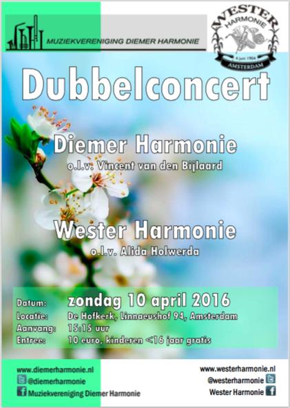 Flyer Dubbelconcert DiemerHarmonie en WesterHarmonie 2016