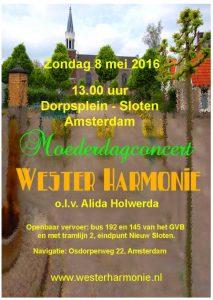 Flyer Westerharmonie moederdag concert 8 mei 2016