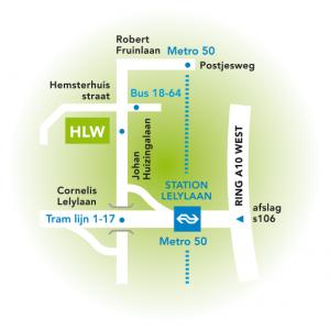 Route per openbaar vervoer naar het Hervormd Lyceum West