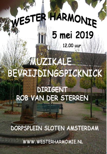 poster muzikale bevrijdingspicknick Sloten 2019 Westerharmonie