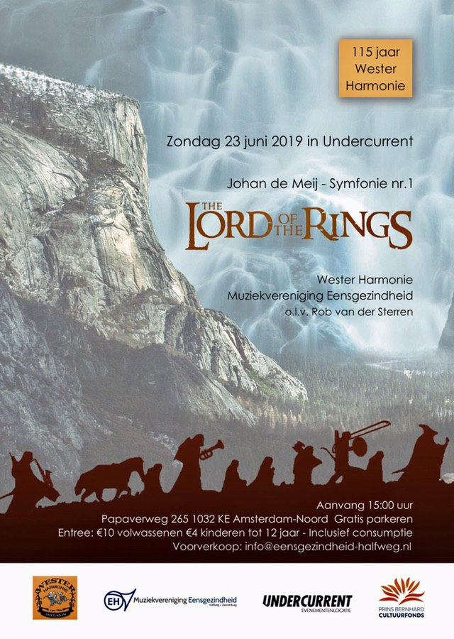 poster Lord of the Rings Westerharmonie concert 2019